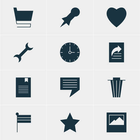 timezone: Editable Pack Of Bookmark, Trash, Settings And Other Elements.