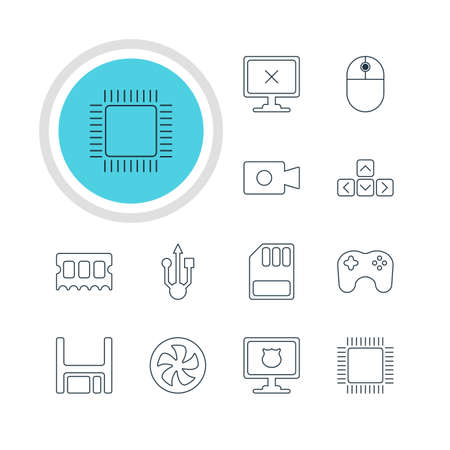 gigabyte: Illustration Of 12 Computer Icons. Editable Pack Of Microprocessor, Gamepad, Storage And Other Elements.