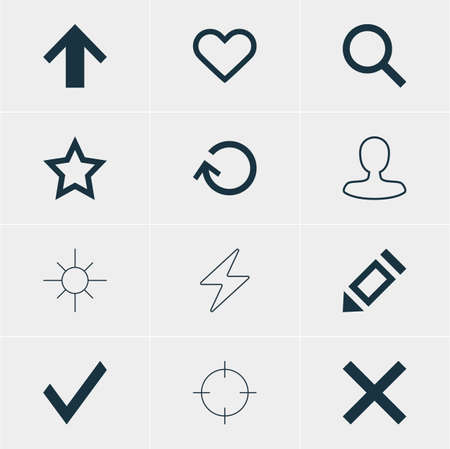 Illustration Of 12 Interface Icons. Editable Pack Of Bolt, Top, Screen Capture And Other Elements.