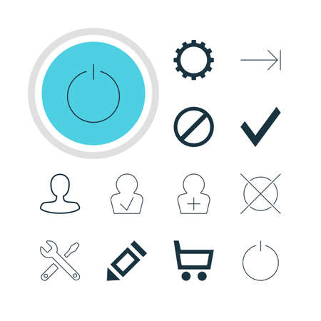 tabulation: Illustration Of 12 Member Icons. Editable Pack Of Cancel, Register Account, Pen And Other Elements. Illustration