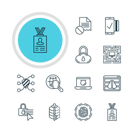 classified: A Vector Illustration Of 12 Protection Icons. Editable Pack Of Safeguard, Safe Storage, Encoder And Other Elements.