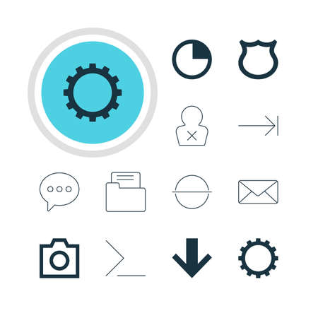 safekeeping: A Vector Illustration Of 12 Member Icons. Editable Pack Of Cogwheel, Snapshot, Tabulation Button And Other Elements.