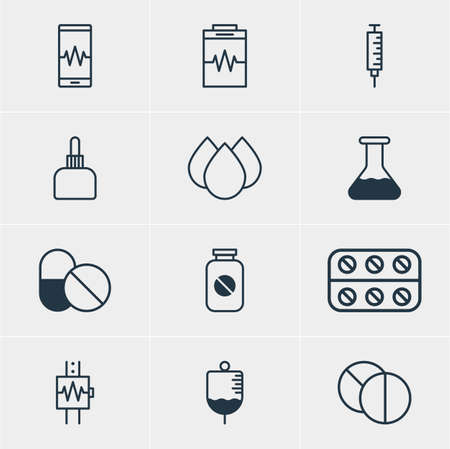 reflection of life: A Vector Illustration Of 12 Medical Icons. Editable Pack Of Vaccinator, Antibody, Phone Monitor And Other Elements.