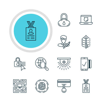 valid: Vector Illustration Of 12 Internet Security Icons. Editable Pack Of Copyright, Finger Identifier, Easy Payment And Other Elements.