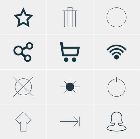 Vector Illustration Of 12 User Icons. Editable Pack Of Full Brightness, Switch Off, Asterisk And Other Elements. Illustration