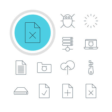 minicomputer: Vector Illustration Of 12 Web Icons. Editable Pack Of Hard Drive Disk, Fastener, Cloud Download And Other Elements.