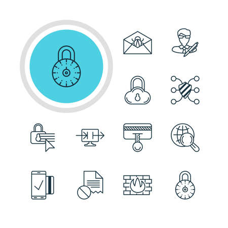 Vector Illustration Of 12 Privacy Icons. Editable Pack Of Network Protection, Copyright, Safeguard And Other Elements.