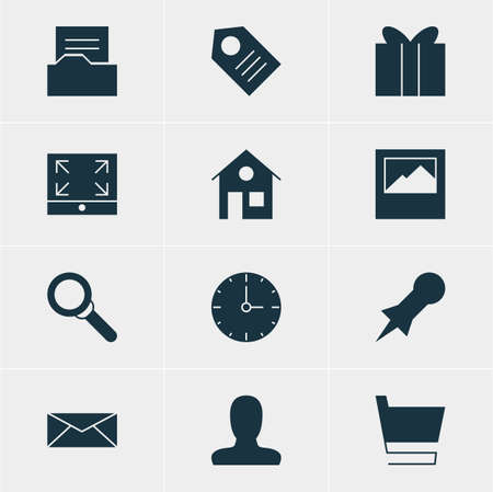 icons site search: Vector Illustration Of 12 Internet Icons. Editable Pack Of Magnifier, Maximize, Letter And Other Elements. Illustration