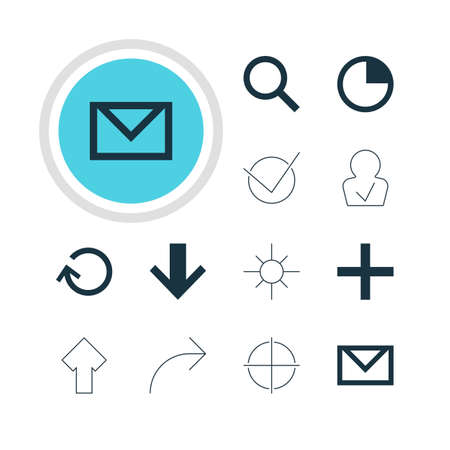 partake: Vector Illustration Of 12 User Icons. Editable Pack Of Downward, Sunshine, Letter And Other Elements.