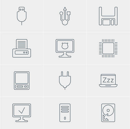 pda: Vector Illustration Of 12 Laptop Icons. Editable Pack Of Serial Bus, Laptop, Microprocessor And Other Elements.