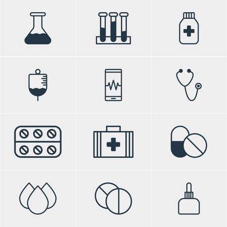 elixir: Vector Illustration Of 12 Medicine Icons. Editable Pack Of Medicine Jar, Antibiotic, Medicament Pitcher And Other Elements.