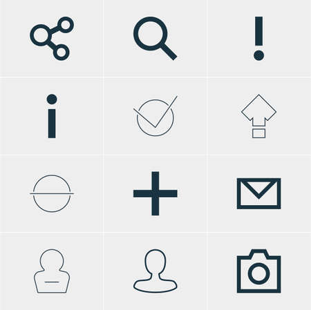 Ilustración vectorial de 12 iconos de miembros. Pack editable de Plus, Seek, Publish y otros elementos.