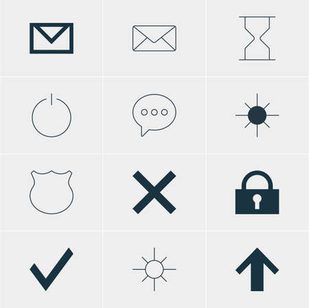 Vector Illustration Of 12 Interface Icons. Editable Pack Of Padlock, Full Brightness, Hourglass And Other Elements.