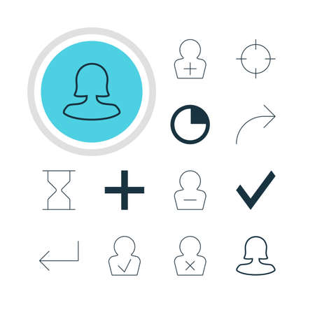 Vector Illustration Of 12 User Icons. Editable Pack Of Banned Member, Female User, Register Account And Other Elements.