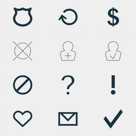 Vector Illustration Of 12 Interface Icons. Editable Pack Of Confirm, Cancel, Emotion And Other Elements.
