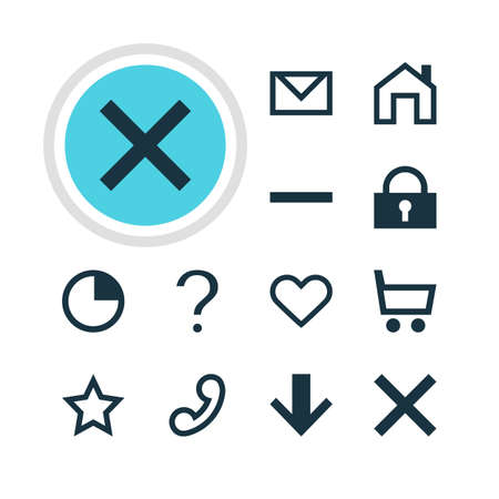telephonic: Vector Illustration Of 12 Interface Icons. Editable Pack Of Asterisk, Padlock, Wrong And Other Elements. Illustration