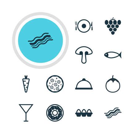 carbohydrates: Vector Illustration Of 12 Eating Icons. Editable Pack Of Martini, Fungus, Platter And Other Elements.