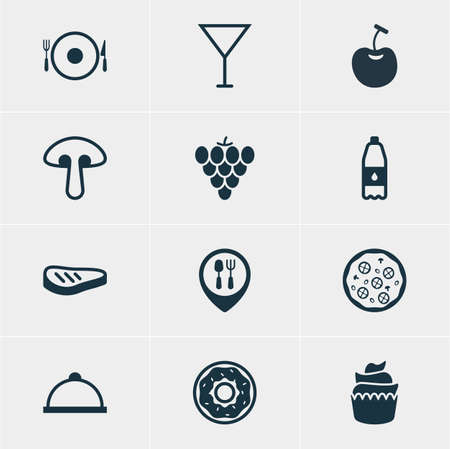 Vector Illustration Of 12 Dish Icons. Editable Pack Of Restaurant, Berry Type, Pizzeria And Other Elements.