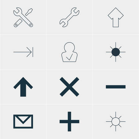 tabulation: Vector Illustration Of 12 User Icons. Editable Pack Of Sunshine, Plus, Tabulation Button And Other Elements.