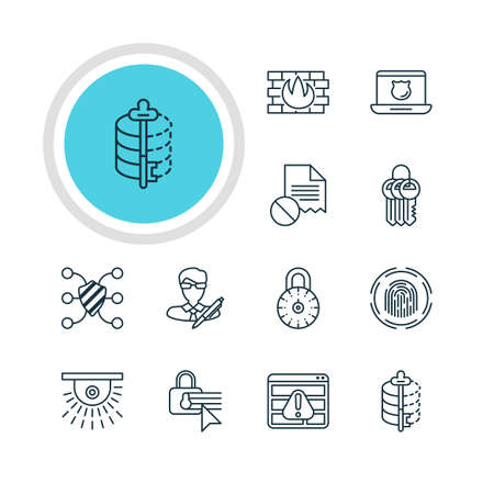 decode: Vector Illustration Of 12 Data Icons. Editable Pack Of Confidentiality Options, Network Protection, Copyright And Other Elements.