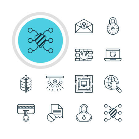 decode: Vector Illustration Of 12 Data Icons. Editable Pack Of Safety Key, Encoder, Safe Storage And Other Elements.