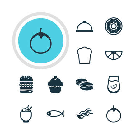 Vector Illustration Of 12 Dish Icons. Editable Pack Of Lime, Muffin, Juice And Other Elements.