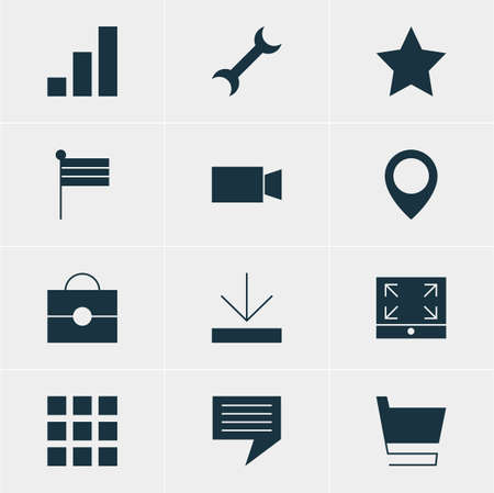website buttons: Vector Illustration Of 12 Web Icons. Editable Pack Of Settings, Trolley, Video Camera And Other Elements.