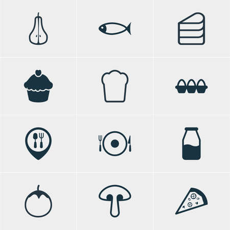 cruet: Vector Illustration Of 12 Food Icons. Editable Pack Of Loaf, Seafood, Cruet And Other Elements.