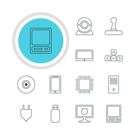 wire: Vector Illustration Of 12 Laptop Icons. Editable Pack Of Tablet, Objective, Flash Drive And Other Elements.