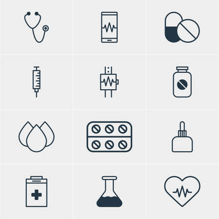 cardiograph: Vector Illustration Of 12 Medical Icons. Editable Pack Of Phone Monitor, Flask, Heartbeat And Other Elements. Illustration