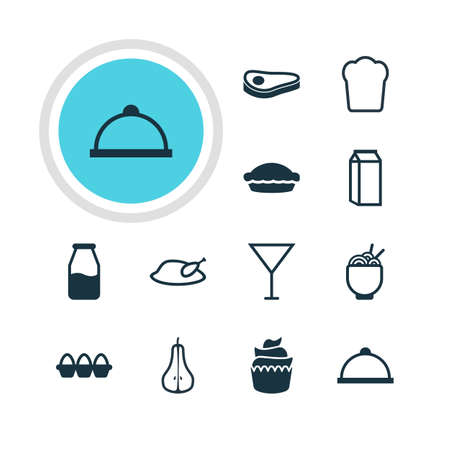nonfat: Vector Illustration Of 12 Meal Icons. Editable Pack Of Egg Container, Dessert, Milk And Other Elements.
