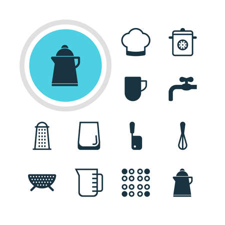 percolate: Vector Illustration Of 12 Restaurant Icons. Editable Pack Of Butcher Knife, Glass Cup, Carafe And Other Elements. Illustration
