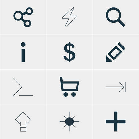 increased: Vector Illustration Of 12 User Icons. Editable Pack Of Seek, Publish, Plus And Other Elements.