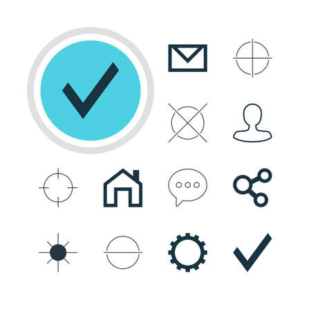 focalize: Vector Illustration Of 12 User Icons. Editable Pack Of Letter, Remove, Mainpage And Other Elements.