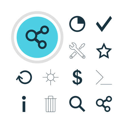 Vector Illustration Of 12 User Icons. Editable Pack Of Maintenance, Sunshine, Seek And Other Elements.