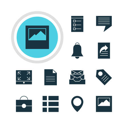 Vector Illustration Of 12 Web Icons. Editable Pack Of Document, Messages, Coupon And Other Elements.