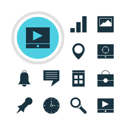 targets: Vector Illustration Of 12 Web Icons. Editable Pack Of Target Scope, Date Time, Play Button And Other Elements.
