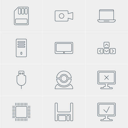 lens unit: Vector Illustration Of 12 Computer Icons. Editable Pack Of Diskette, Online Computer, Movie Cam And Other Elements.