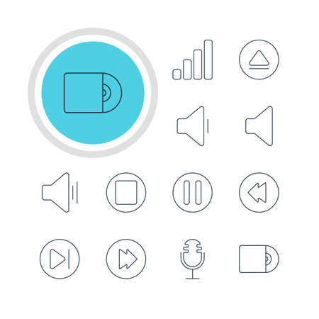 subsequent: Vector Illustration Of 12 Music Icons. Editable Pack Of Subsequent, Speaker, Reversing And Other Elements.