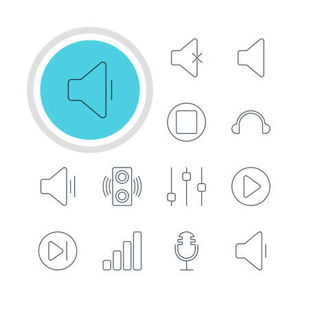 subsequent: Vector Illustration Of 12 Melody Icons. Editable Pack Of Subsequent, Decrease Sound, Stabilizer And Other Elements. Illustration