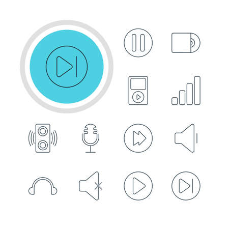 Vector Illustration Of 12 Melody Icons. Editable Pack Of Mike, Earphone, Subsequent And Other Elements.