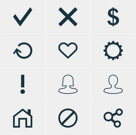 Vector Illustration Of 12 User Icons. Editable Pack Of Renovate, Wrong, Emotion And Other Elements.