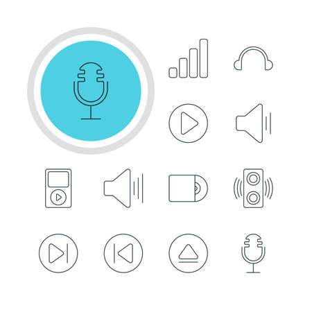 Vector Illustration Of 12 Music Icons. Editable Pack Of Amplifier, Volume Up, Rewind And Other Elements. Illustration