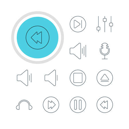 earpiece: Vector Illustration Of 12 Music Icons. Editable Pack Of Stabilizer, Advanced, Pause And Other Elements.