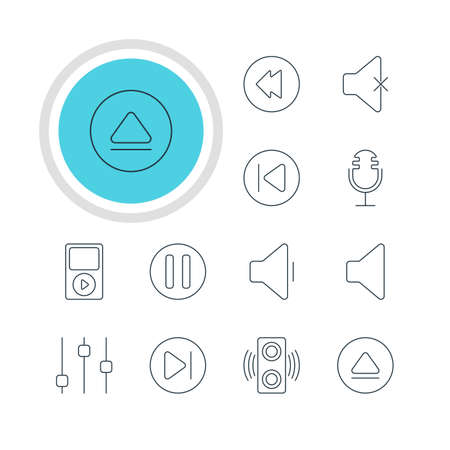 Vector Illustration Of 12 Music Icons. Editable Pack Of Rewind, Lag, Stabilizer And Other Elements. Illustration