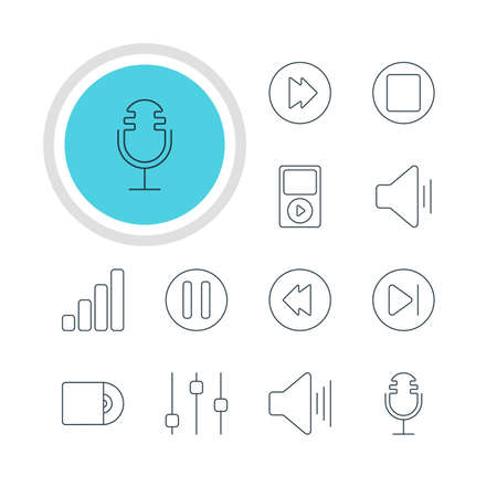 reversing: Vector Illustration Of 12 Music Icons. Editable Pack Of Audio, Compact Disk, Advanced And Other Elements. Illustration