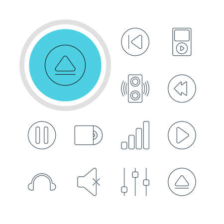 lag: Vector Illustration Of 12 Melody Icons. Editable Pack Of Rewind, Lag, Acoustic And Other Elements.
