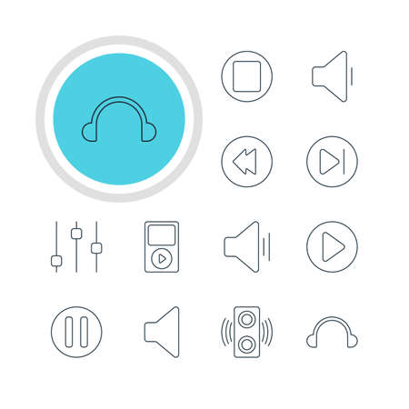 lag: Vector Illustration Of 12 Music Icons. Editable Pack Of Lag, Reversing, Earphone And Other Elements. Illustration