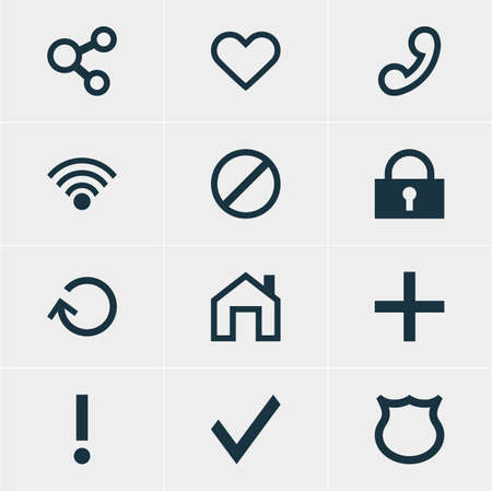 interjection: Vector Illustration Of 12 Interface Icons. Editable Pack Of Padlock, Mainpage, Plus And Other Elements.