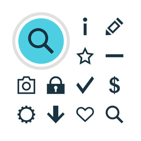 expel: Vector Illustration Of 12 Interface Icons. Editable Pack Of Money Making, Seek, Asterisk And Other Elements. Illustration
